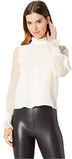 Woven Mesh Top with Smocking Details