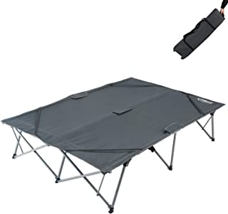 KingCamp Double Folding Camping Cots for 2 People, Folding Cot Bed Heavy Duty 550Lbs Portable Steel Frames Easy Set Up Bla...