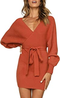 Women's Sexy V Neck Wrap Belted Batwing Long Sleeve Backless Pencil Bodycon Knitted Mini Sweater Dress