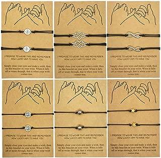 12PCS Pinky Promise Distance Friendship Bracelets Set Adjustable Handmade Cord Relationship Matching Bracelets Gift for Best Friend Couples,Girlfriend Boyfriend