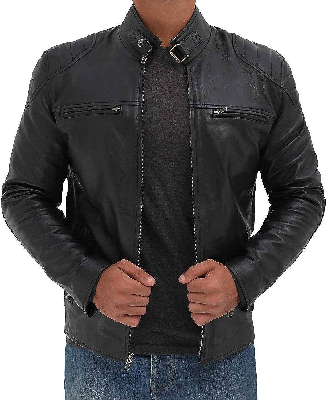 Fjackets Motorcycle Jackets For Men - Real Lambskin Leather Biker Jacket Men