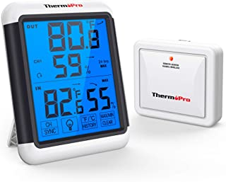 ThermoPro TP65 Indoor Outdoor Thermometer Digital Wireless Hygrometer Temperature Humidity Monitor with Jumbo Touchscreen ...