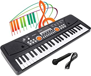LYBALL Kids Piano 49-Key Keyboard with Microphone Dual Speak