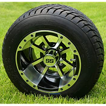 """10"""" STORM TROOPER Machined/Black Wheels and 205/50-10"""" DOT Golf Cart Tires - Set of 4"""