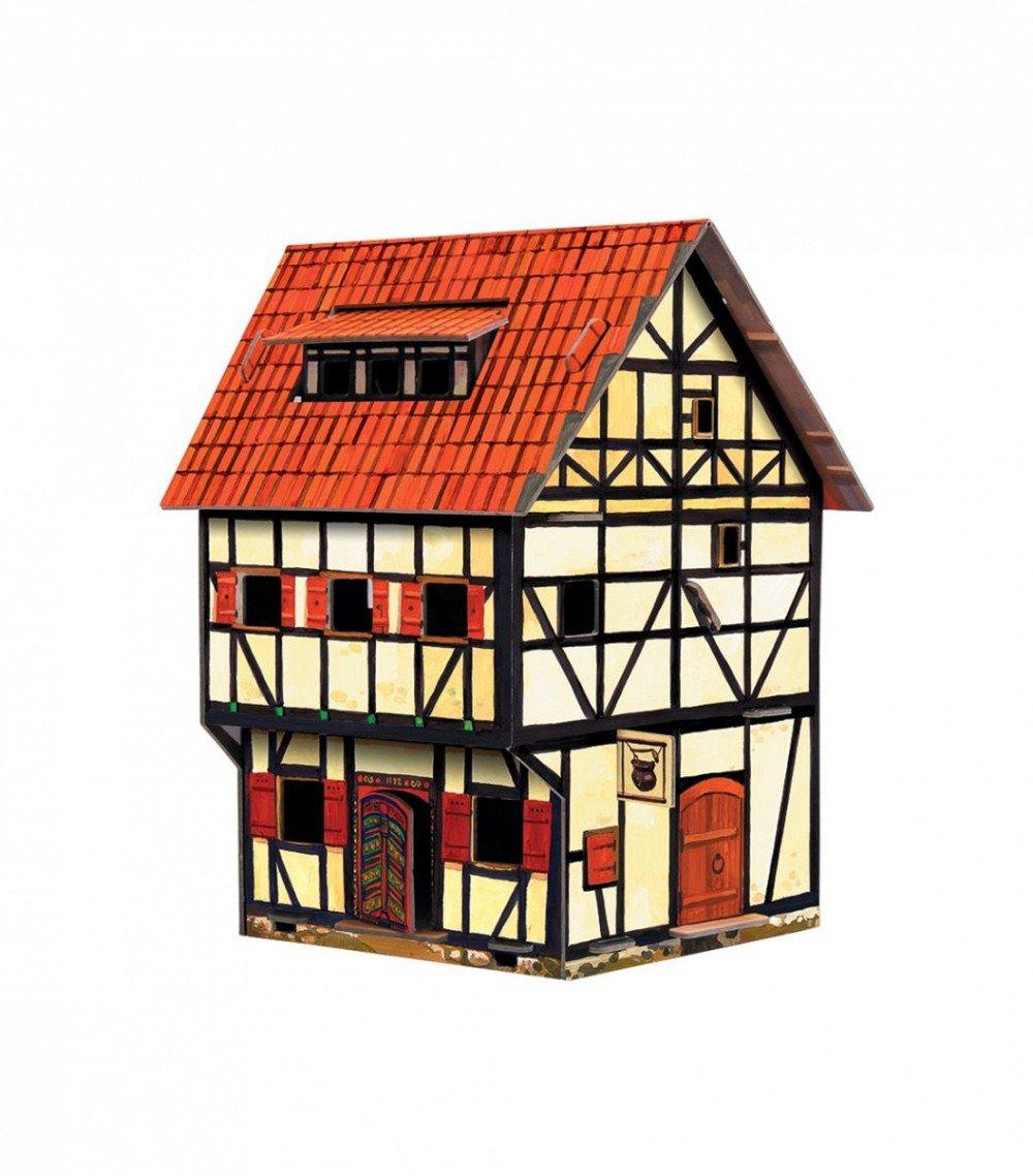 "UMBUM Innovative 3D Puzzle - Tavern - Medieval Town - 5½"" x 7½"" x 4¾ 13 pcs - Clever Paper (213)"