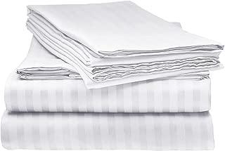 Elaine Karen 1800 Bedding - Soft Brushed Microfiber - Striped Queen Bed Sheet Set, White