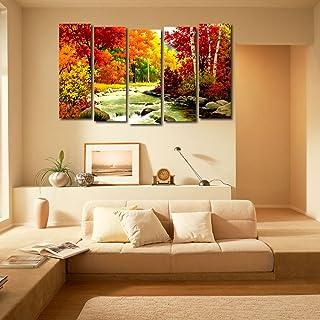 999Store Multiple Frames Wall Art Panels Wooden Frame Printed Forest River Like Modern Wall Art Painting - 5 Frames (148 X...