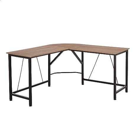 Amazon Basics L-Shape Office Corner Desk, 55-Inch, Espresso