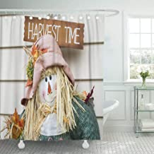 Emvency Fabric Shower Curtain Curtains with Hooks Colorful Agriculture Fall Scarecrow Closeup Orange Autumn Boy Buttons Character Crow Cute Doll 60