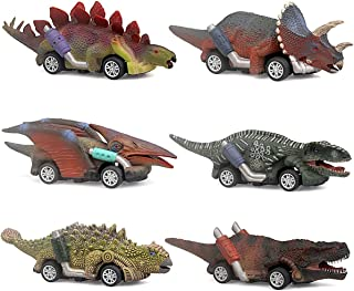 Dinosaur Toy Pull Back Cars, 6 Pack Dino Toys for 3 Year Old Boys and Toddlers, Boy Toys Age 3,4,5 and Up, Pull Back Toy C...
