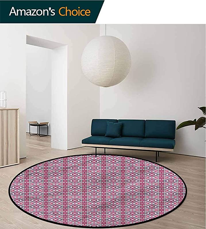 RUGSMAT Ikat Washable Creative Modern Round Rug Checkered Mosaic Ethnic Lifts Basket Swivel Chair Pad Coffee Table Rug Round 31