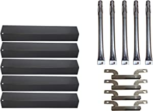 Zljoint Replacement Porcelain Steel Heat Plates and Stainless Steel Grill Burner Crossover Tube for Gas Grill Brinkmann 810-1750-s 810-1751-S 810-3551-0 Gas Grill Parts Kit