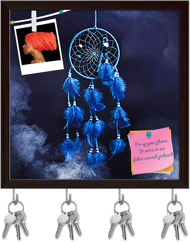 Artzfolio Dreamcatcher with Smoke Key Holder Hooks   Notice Pin Board   Dark Brown Frame 20 X 20Inch