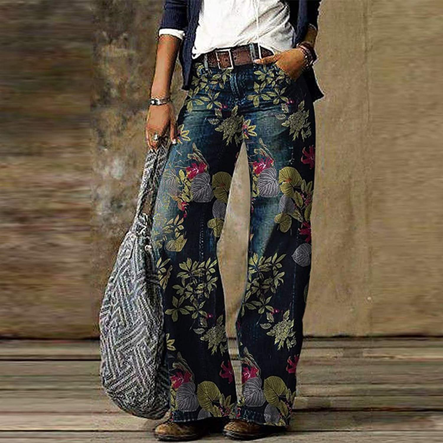 Hesxuno Valentines Day Gifts Women's Comfy Cute Flower Printed Casual Trousers Pants Straight Loose Jeans