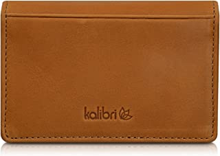 kalibri Leather Business Card Holder - Real Leather Wallet Case for Business Cards, Credit Cards, Bank Cards and More - Ho...