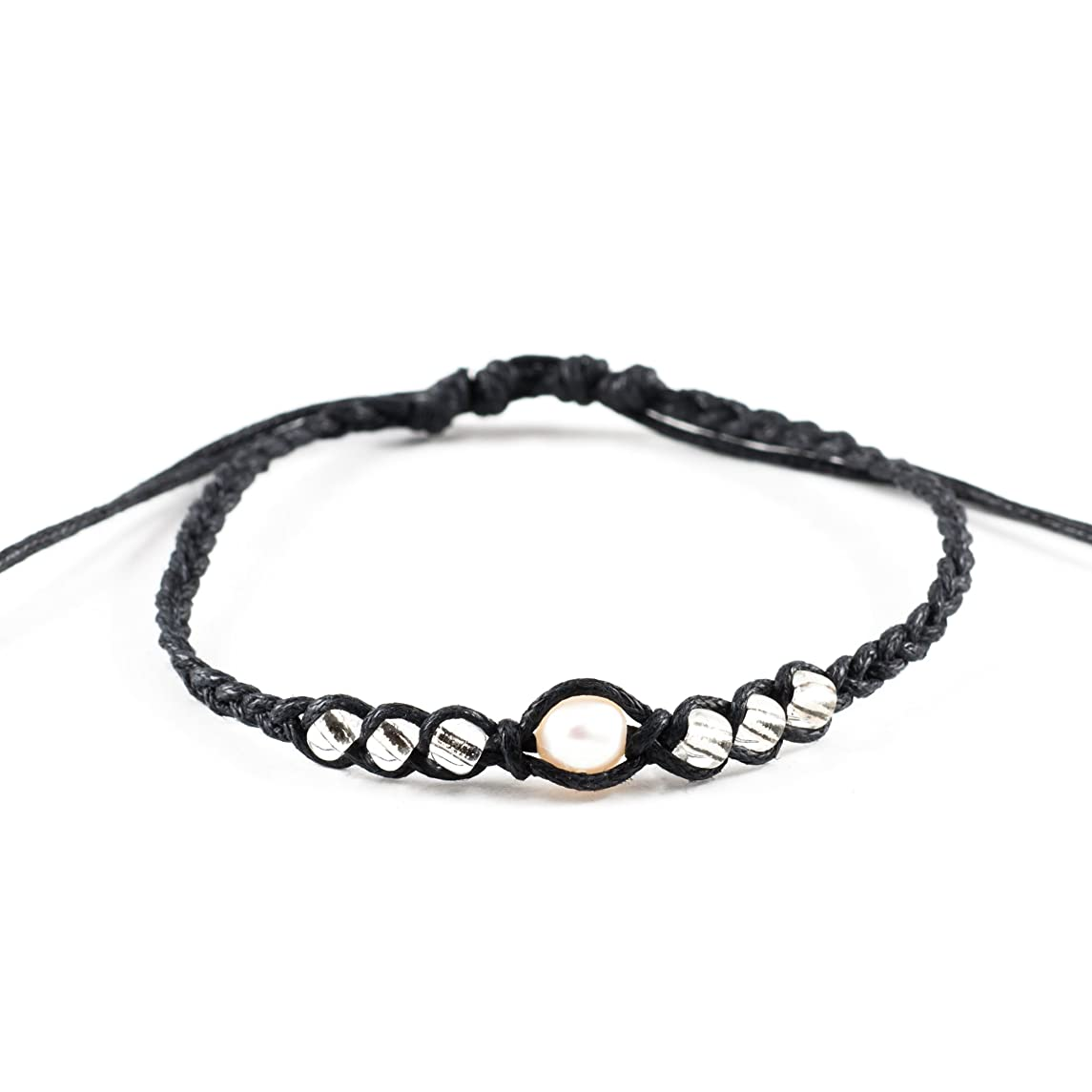 Genuine Cultured Fresh Water Pearl on Adjustable Braided Cord Bracelet with Clear Glass Beads (Black)