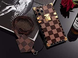 Cases Tech Case for iPhone 11,Fashion Elegant Luxury PU Leather Wallet Monogram Style Full Protection Cover Case with Lanyards Compatible for Apple iPhone 11 (Brown, iPhone 11)