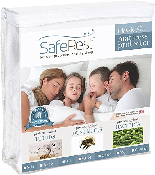 SafeRest Twin Extra Long XL Classic Plus Hypoallergenic 100 Waterproof Mattress Protector Vinyl Free