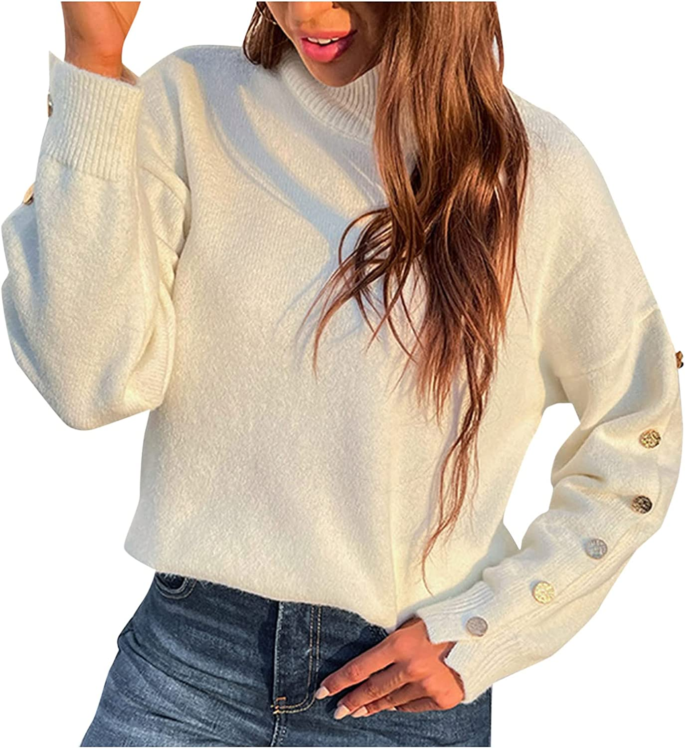 Womens Cozy Long Sleeve Turtleneck Pullover Sweaters Soft Solid Color Ribbed Knitted Casual Winter Pullover Sweater Tops