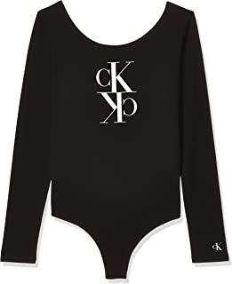 Calvin Klein Women's MIRRORED MONOGRAM BODY L/S T-Shirt, Black, Large