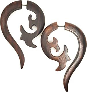 UMBRELLALABORATORY Tribal Flower Organic Wooden Earrings Fake Gauges Sold As Pair Bohemian Jewelry w 19