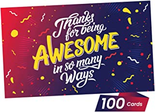 Thank You Appreciation Gifts Cards - You Are Awesome Recognition, Encouragement and Kindness Notes for Employees, Teachers, Staff, Graduation, Friends, Family, Co-Workers - Box of 100