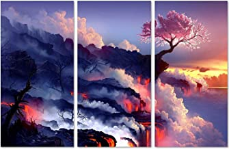 QICAI 3 Panels Magic Cherry Tree in Volcanoes Canvas Prints Modern Canvas Wall Art Paintings Stretched and Framed Giclee Artwork Abstract Wall Art for Room Decoration Home Wall Decor,3 pcs/set