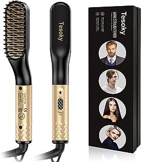 Beard Straightener, Tesoky Beard Straightening for Men and Hair Straightening Brush Comb for Women Fast Heated Electric Hot Hair Brush Multifunctional Hair Styler Shaping Tools (Gold)