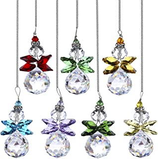 H&D 7pcs Crystal Angel Suncatcher Pendant Hanging Crystal Angel Ornament with Clear Crystal Ball Prism for Home Decor/Gard...