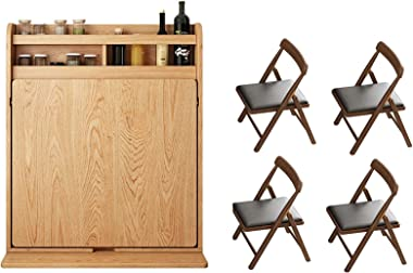 H-ei Drop-Leaf Table with 4 Chairs, Folding Kitchen Dining Table Desk Solid Wood Home Office Table Desk Workstation Computer