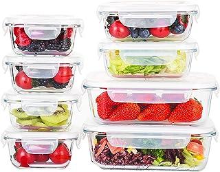 Doonmi-耐熱ガラス保存容器、BPAフリーの蓋付き、食品級材質の食品容器、8点組セット(370ML*2個,1040ML*2個, 310ML*4個を含む)、ユニークな排気口、シールリング付き、気密性良い、漏れ防止。耐高温耐低温、電子レンジ、オ...