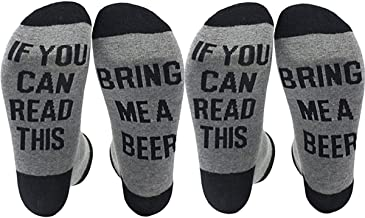 Gedston 2 Pair Novelty Christmas Movies Socks If You Can Read This Bring Me Beer for Women Men