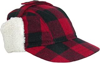 Men's Wool Plaid Outdoor Cap with Sherpa Earflaps