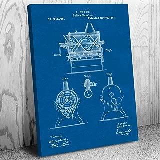 Burns Coffee Roaster Canvas Print, Espresso Maker, Coffeeshop, Breakfast Cafe, Barista Gifts, Cappuccino Drinker Blueprint (18