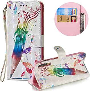 Stylish 3D Painted Leather Case for Samsung Galaxy A7 2018,Soft PU Leather Wallet Case for Samsung Galaxy A7 2018,Moiky Creative Music Pen Pattern Painted Shell Flip Stand Case with Card Holders