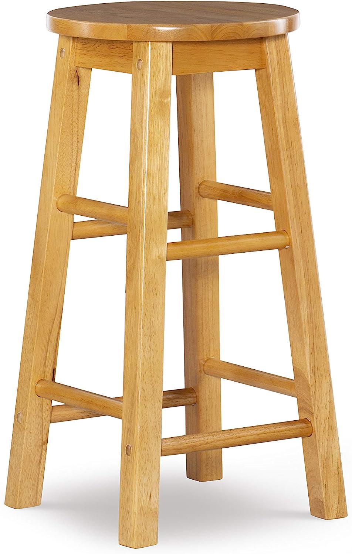 Amazon Com Linon Natural Barstool With Round Seat 24 Inch Furniture Decor