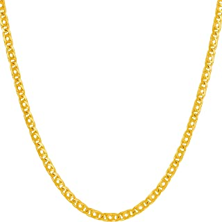 3mm Emblem Chain Necklace for Women and Men 24k Gold Plated