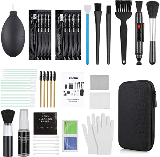Zacro 18-in-1 Professional Camera Cleaning Kit for Most DSLR Cameras (Canon, Nikon,Sony), with Air Blower/Cleaning Pen/Detergent/Cleaning Cloth/Lens Brush/Carry Case