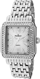 Peugeot Women Rectangle Dress Watch with Crystal Decorated Bezel, Roman Numerals and Bracelet