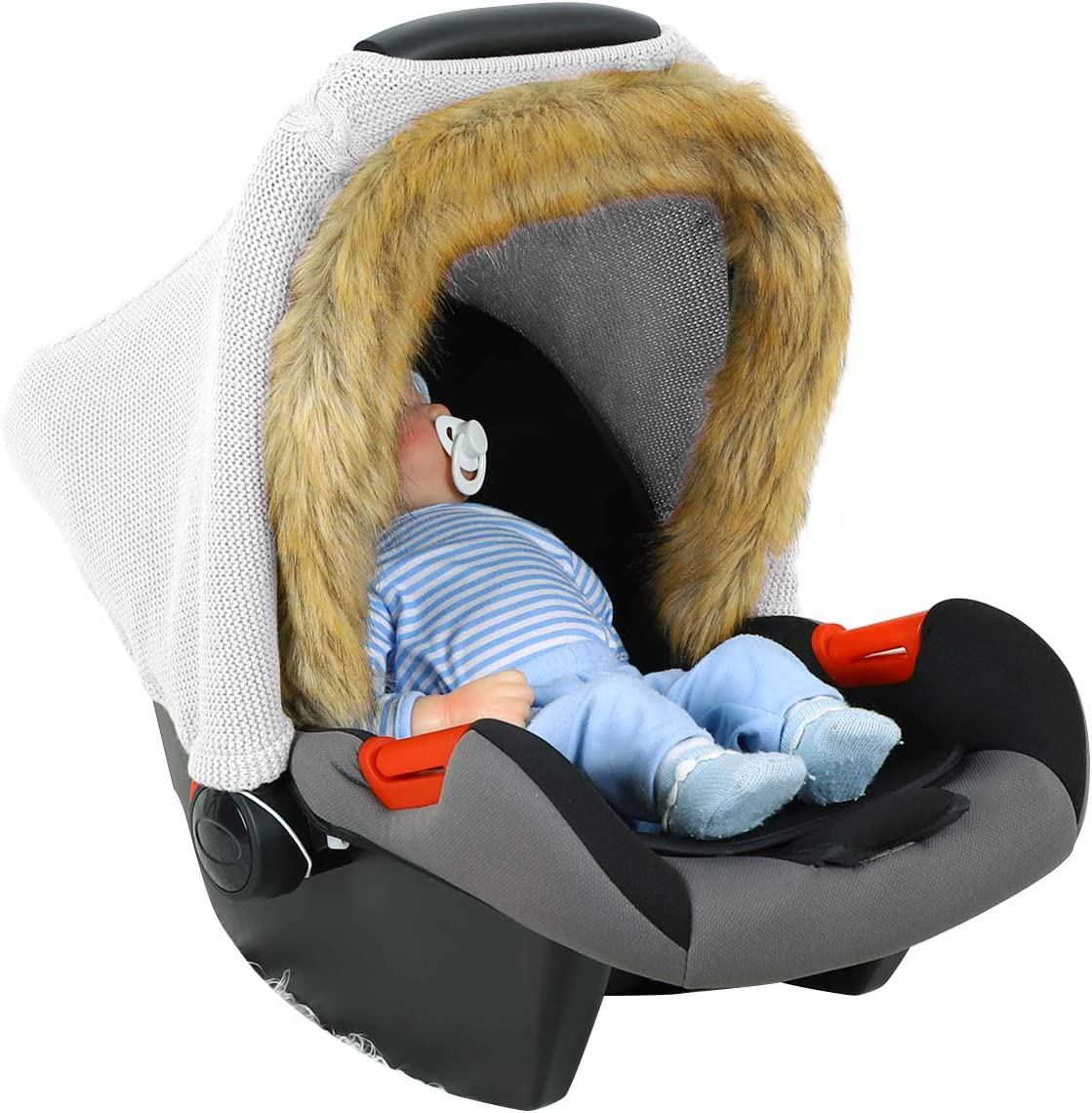 Yinuoday Baby Car Seat Cover with Faux Fur Hem Winter Knitted Stretchy Infant Stroller Cover Carseat Canopy for Boy Girl Indoor Outdoor