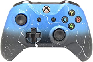 Hand Airbrushed Fade Xbox One Custom Controller Compatible with Xbox One (Blue & Black Fade W/Silver Splatter)