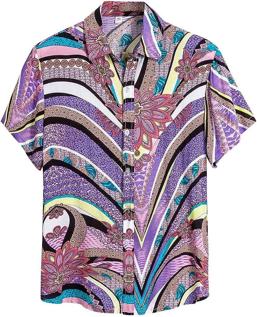 Misaky Aloha Hawaiian Shirt Summer Ethnic Short Sleeve Turn Down Collar Button DownTshirt for Holiday