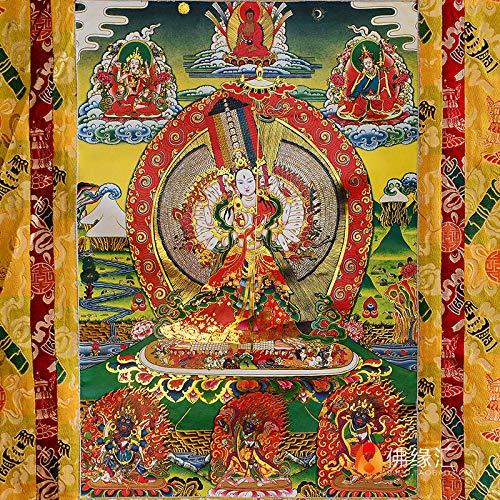 XYFL handgemaakte dubbel gelaagde vergulde schilderij hart grote witte paraplu-bedekt Boeddha Thangka Boeddha