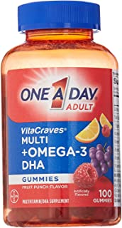One A Day VitaCraves Multivitamin Gummies Plus Omega-3 DHA, 100 Count