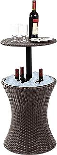 Dawoo 5-Gal Cool Bar Rattan Style Outdoor Patio Pool Cooler Mesa Con Altura Ajustable Al Aire Libre Mimbre Ice Cube Cocktail Coffee Table Para Fiesta(Marrón)