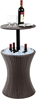 Display4top 7.5-Gal Cool Bar Rattan Style Outdoor Patio Pool Cooler Table with Height Adjustable Outdoor Wicker Ice Bucket Cocktail Coffee Table for Party, Pool, Deck, Backyard Use (Brown)