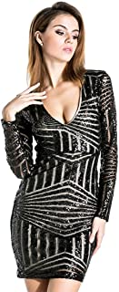 Best black long sleeve sequin mini dress Reviews