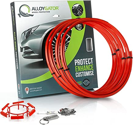 """Alloygator Alloy Wheel Protection (MADE IN BRITAIN) Rim Protector Complete Set of 4 RED COLOR Excellent Fitment (FITS 13"""" to 21"""" OEM Factory Rims & Aftermarket Wheels)"""