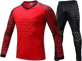 Rayauto Kids Men's Sport Football Soccer Goalkeeper Goalie Foam Padded Top Jersey Shirt & Thick Protective Pants Uniform Suits