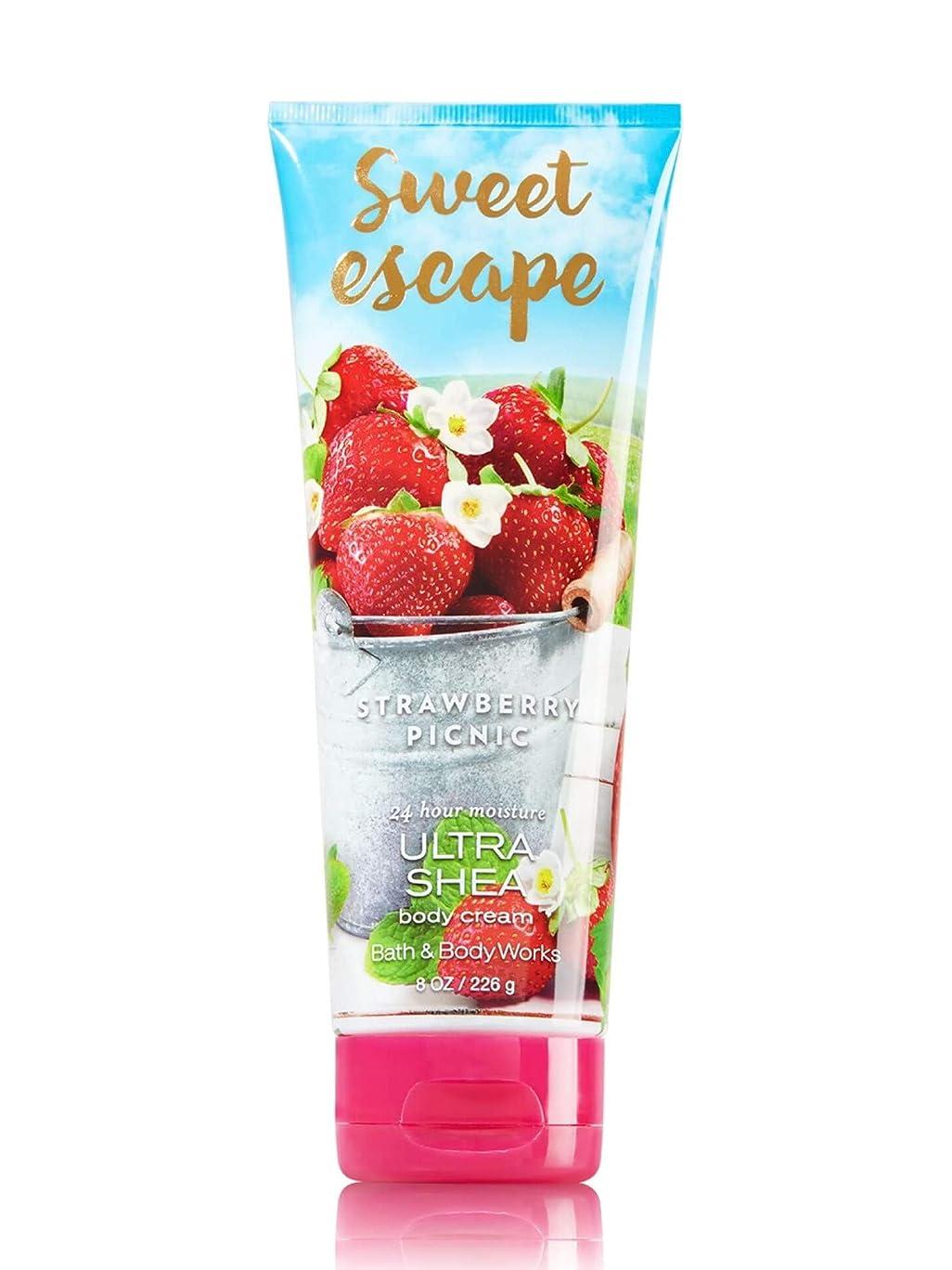 天国冗談で実験をする【Bath&Body Works/バス&ボディワークス】 ボディクリーム ストロベリーピクニック Body Cream Sweet Escape Strawberry Picnic 8 oz / 226 g [並行輸入品]